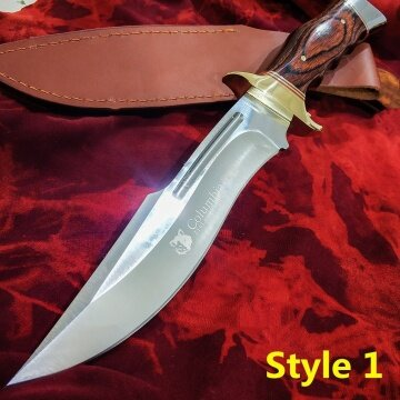 3cr13 cutter head copper head and color wooden handle 12.1 inch tactical fixed blade knife camping hunting knife outdoor survival tool dagger