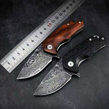 New Damascus steel acid-wood handle outdoor high hardness portable outdoor camping survival EDC folding knife