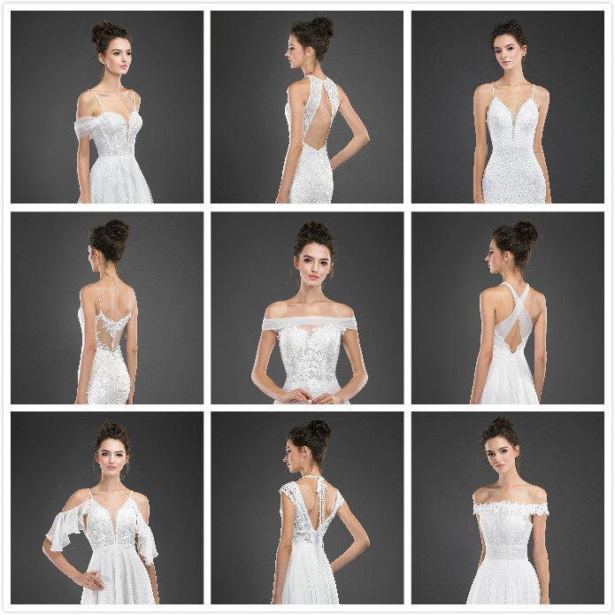 Three popular wedding dress styles.