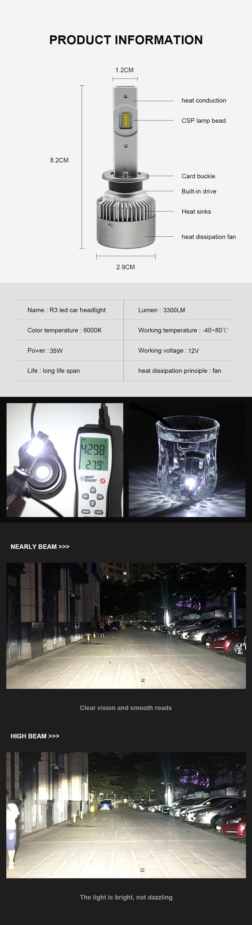 R3 LED Car Headlight H7 LED H4 H11/H8 H1 9005/HB3 9006/HB4 9012 35W 3000Lm Fan Cooling Bulbs CSP Headlamp 12V Lights