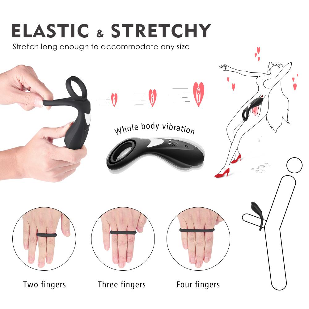Waterproof Soft  black big cock sex vibrator Cock Ring Training Ring for Men