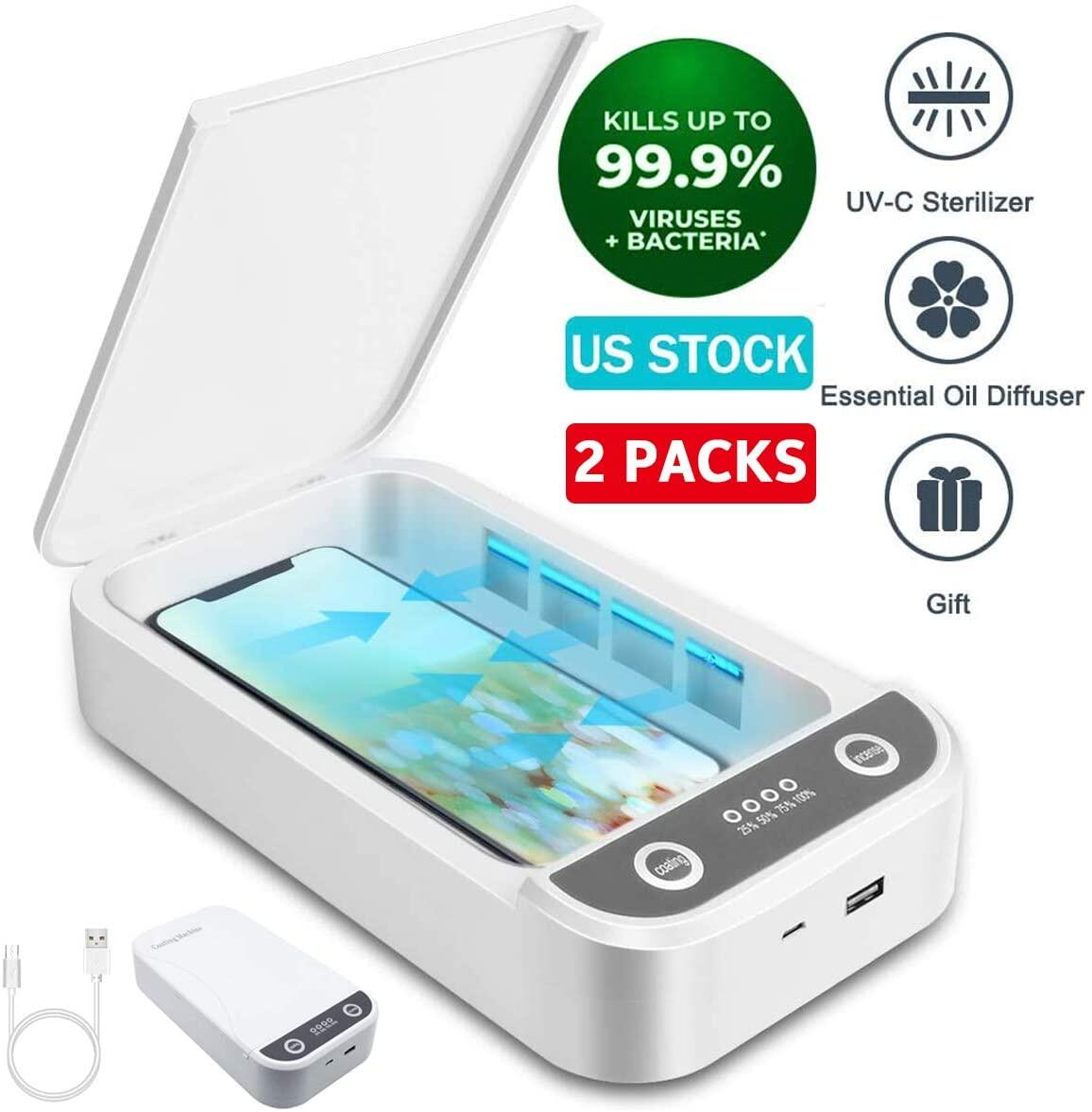 Cell Phone Cleaners Sanitizer Box for iOS Android Smartphones Toothbrush Pacifier Portable UV Sterilizer Aromatherapy Function Disinfector UV Cell Phone Sanitizer