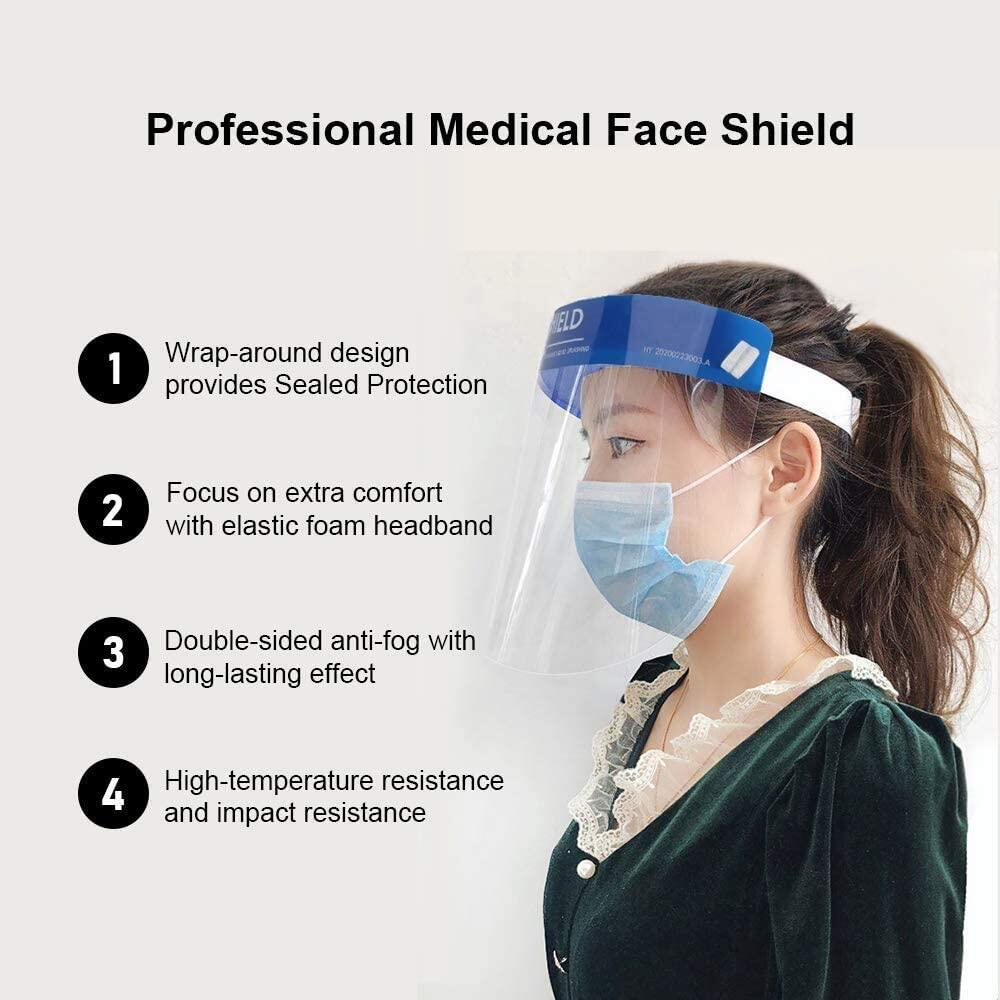 5PCS Face Shield Full Face Protective Shield With Double-Sided Anti Fog Film Visor