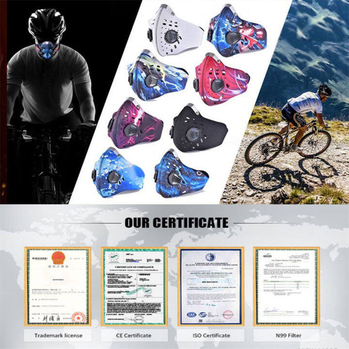HWJF Dustproof Mask Elastic Activated Carbon Riding Mask Face Masks for Motorcycling Woodworking Cycling Running Bicycle With breathing valve