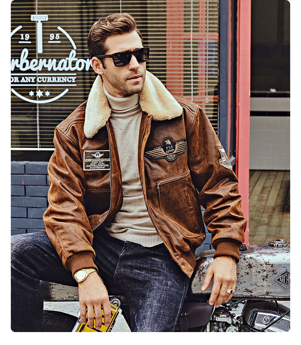 Men's Leather Bomber Jacket Aviator with Removable Collar xgx-303 Buy bomber aviator jacket with removable collar| discount bomber aviator jacket with removable collar
