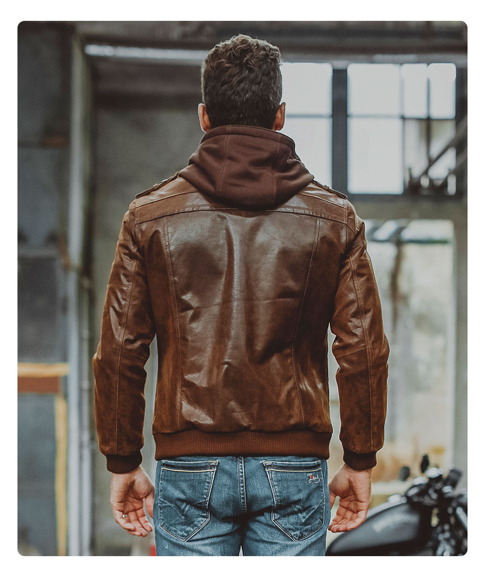 Men's Brown Leather Moto Jacket with Removable Hooded M2016-95 Removable hooded leather moto jacket brands| removable hooded flavor leather moto jacket