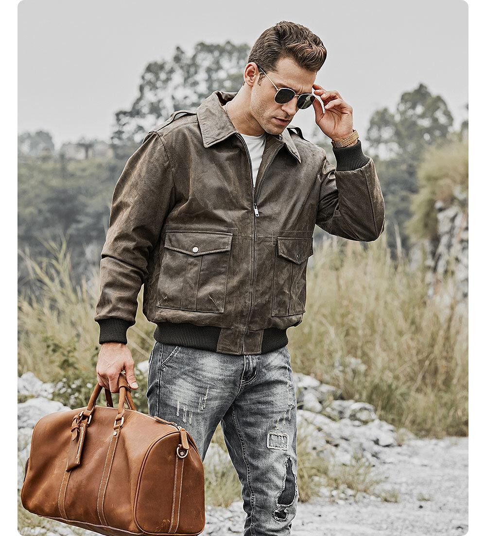 Men's Leather Bomber Jacket Aviator US Flag PrintedBuy lambskin leather biker jacket| buy men's bomber leather cowhide jacket