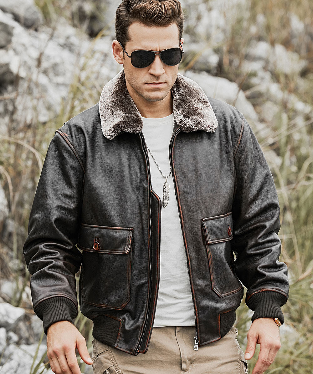 Men's Bomber Leather Jacket Cowhide with Faux Fur CollarFashion men's bomber leather cowhide jacket| 100% polyester men's bomber leather cowhide jacket