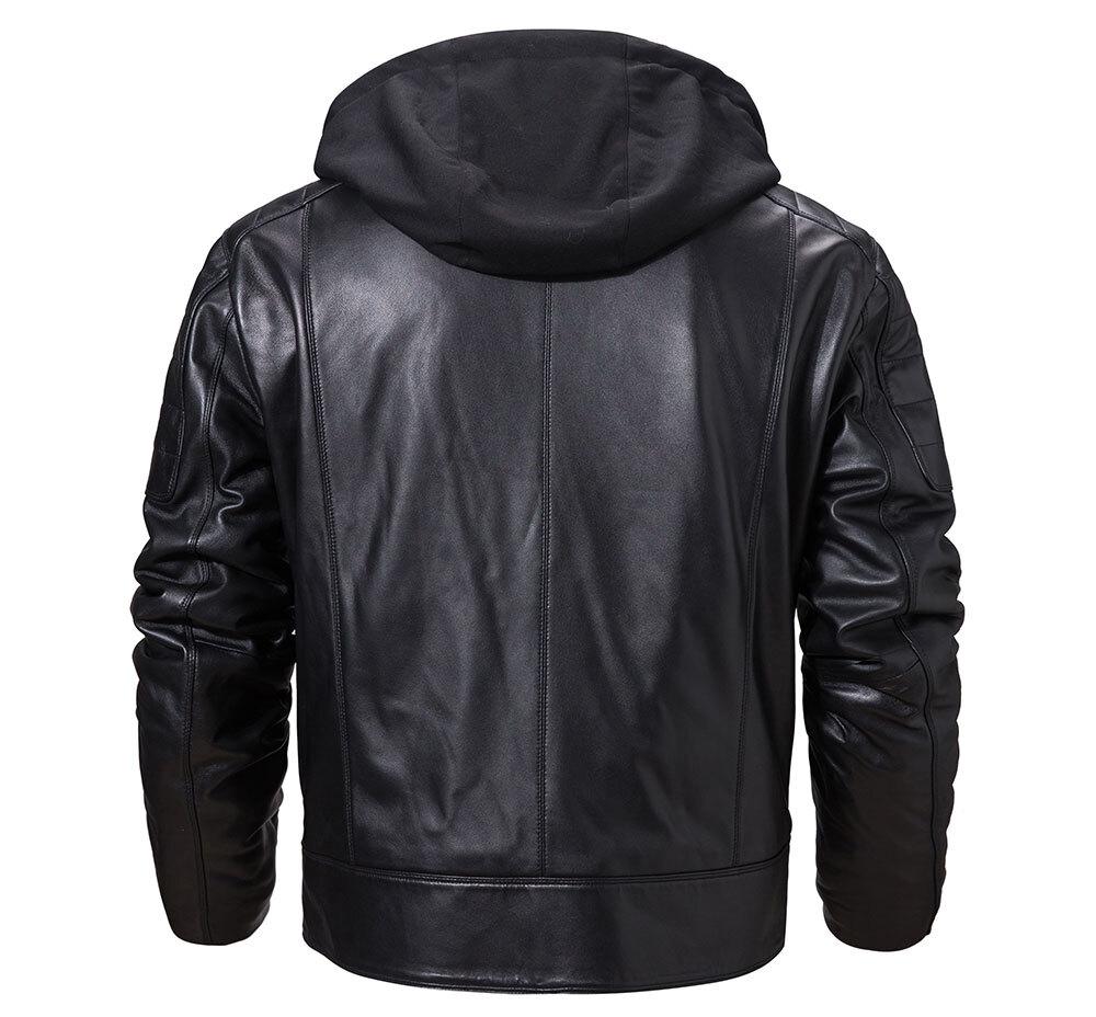 Men's Lambskin Leather Moto Jacket HoodedFashion men's lambskin leather down jacket| 100% polyester removable hooded leather jacket