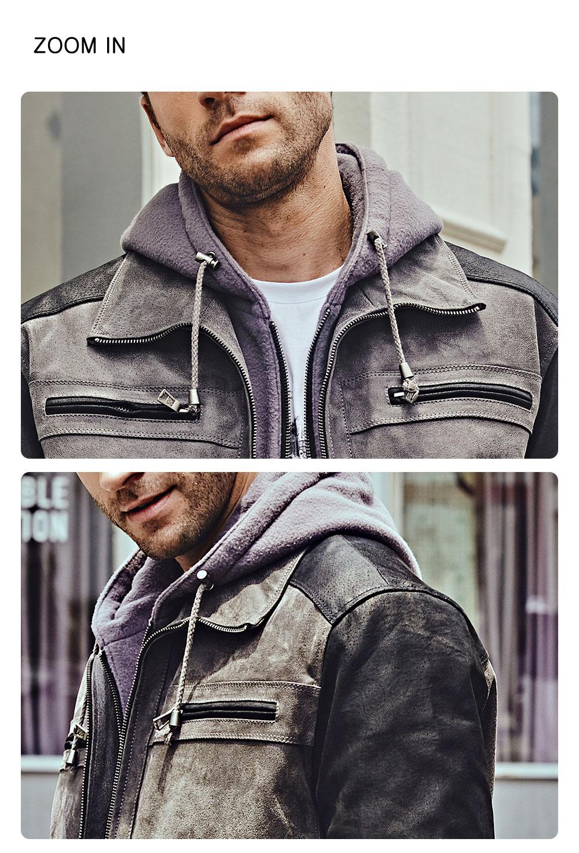 Men's Grey Leather Biker Jacket Removable Hood100% polyester removable hood grey leather biker jacket| buy polyester removable hood grey leather biker jacket