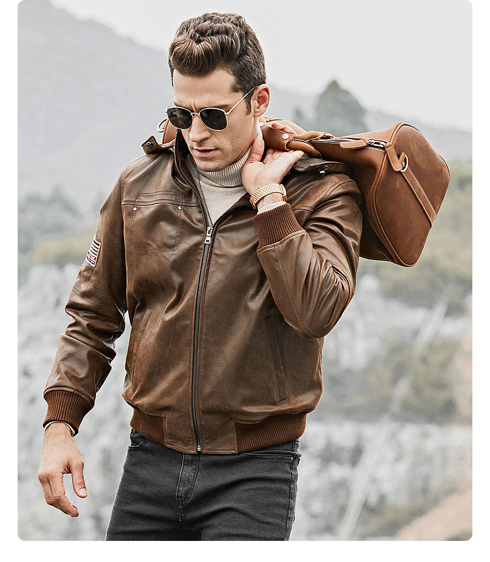 Men's Brown Leather Jacket Removable Hooded Fashion removable hooded leather moto jacket| 100% polyester leather removable hooded jacket