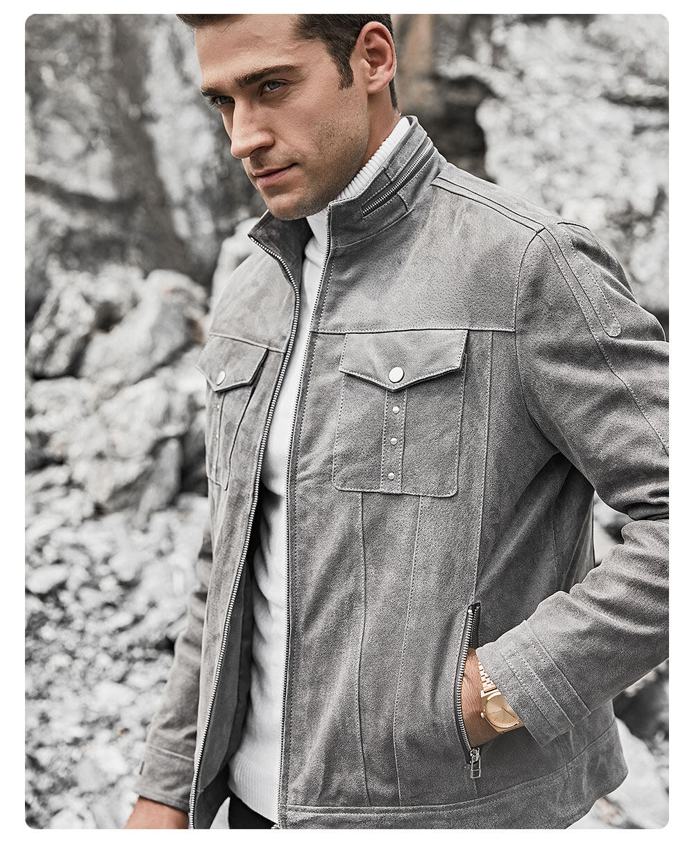 Men's Gray Leather Jacket Stand CollarBuy subtly worn genuine stand collar jackets| discount subtly worn genuine stand collar jackets