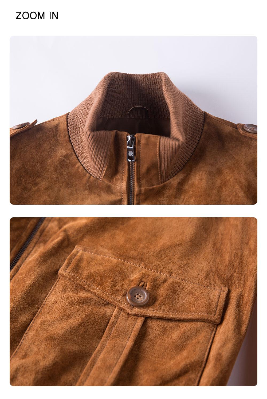 Men's Leather Jacket Stand Collar Rib botton and Cuff Fashion genuine stand collar rib botton jacket| fashion flavor leather stand collar rib button jacket