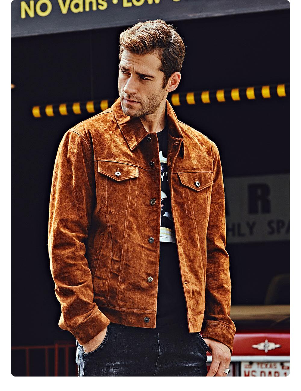 Men's Leather Denim Jacket BrownDiscount 100% polyester flavor leather denim jacket| buy discount 100% polyester flavor leather denim jacket