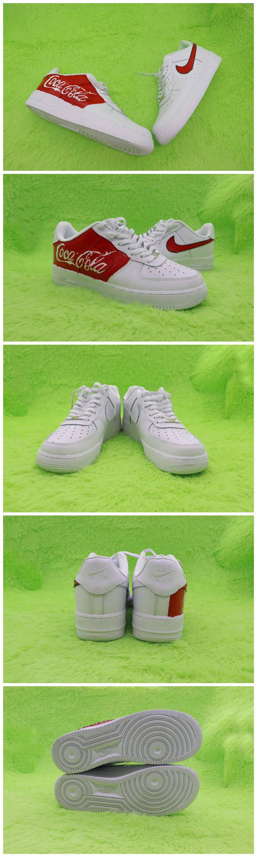 Custom Coca-Cola Shoes For Air Force 1 White Graffiti Hand Painted Sneaker - A003Custom Coca-Cola Shoes For Air Force 1 White Graffiti Hand Painted Sneaker - The Zero Custom