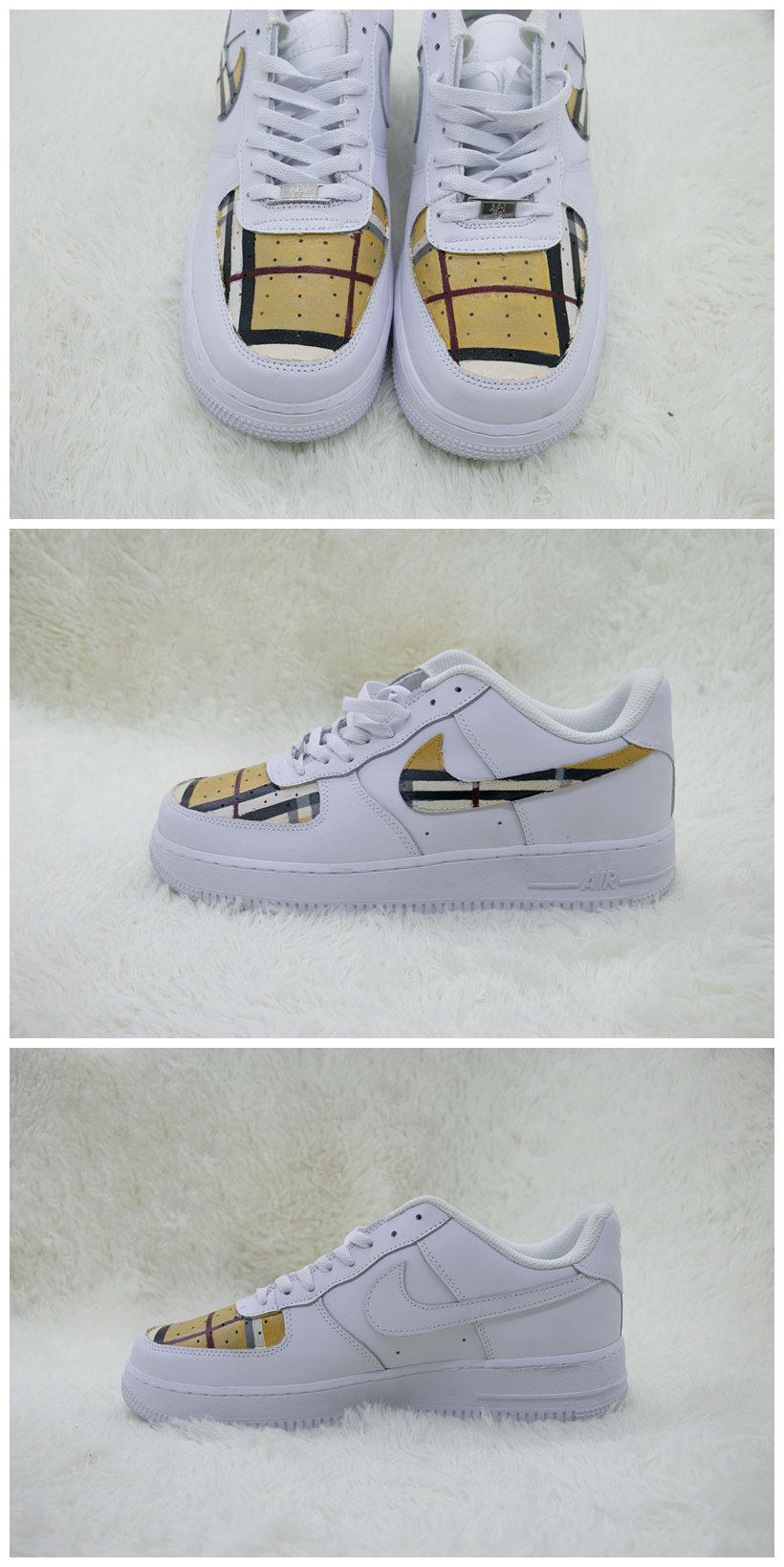 Custom Burberry Shoes For Air Force 1 White Graffiti Hand Painted Sneaker - A004Custom Burberry Shoes For Air Force 1 White Graffiti Hand Painted Sneaker - The Zero Custom