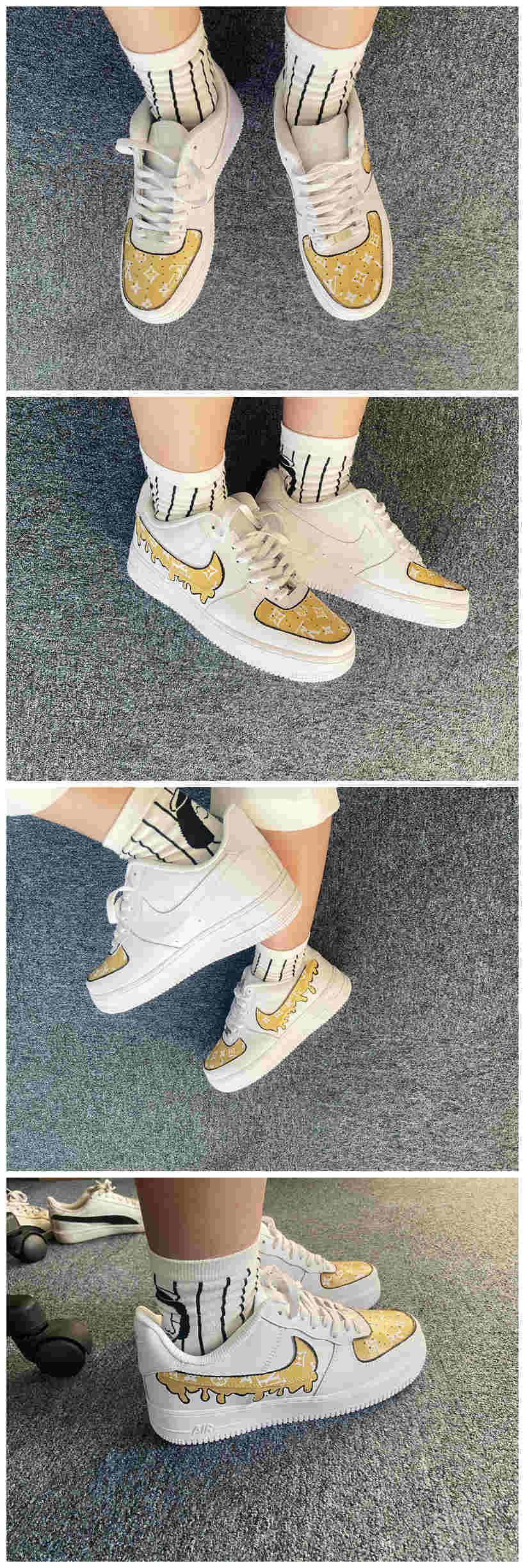 Custom Louis Vuitton Shoes For Air Force 1 White Graffiti Hand Painted Sneaker-A007Custom Louis Vuitton Shoes For Air Force 1 White Graffiti Hand Painted Sneaker - A007 - The Zero Custom