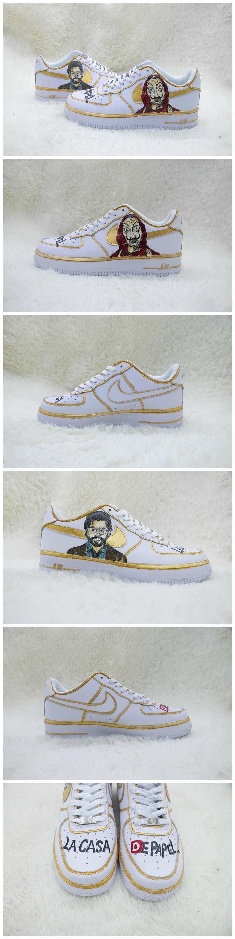 Custom La Casa De Papel Shoes For Air Force 1 White Graffiti Hand Painted Sneaker - A008Custom La Casa De Papel Shoes For Air Force 1 Graffiti Hand Painted Sneaker - The Zero Custom