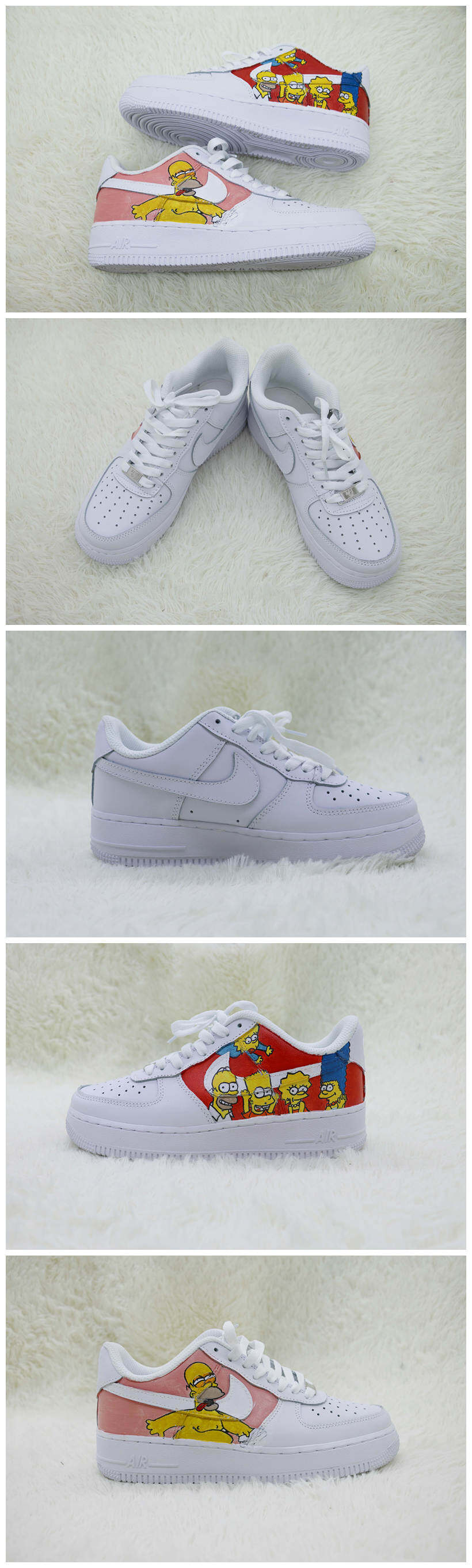 Custom The Simpons Shoes For Air Force 1 White Graffiti Hand Painted Sneaker - A009Custom The Simpons Shoes For Air Force 1 Graffiti Hand Painted Sneaker - The Zero Custom